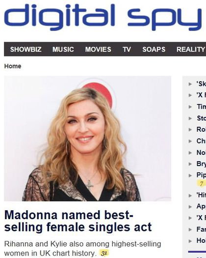 Madonna named UK's biggest-selling female singles artist of all time