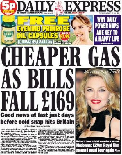 Madonna on the cover of UK newspaper ''Daily Express'' - January 12, 2012
