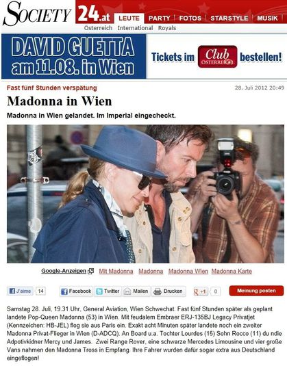 Madonna - MDNA Tour: Madonna arriving in Vienna, Austria - July 28, 2012