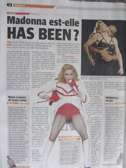 Madonna - MDNA Tour: On the covers of Belgian newspapers for the show in Brussels