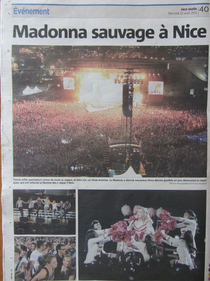 Madonna - MDNA Tour: French newspapers on the show in Nice, France
