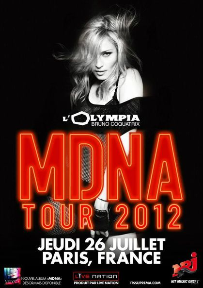 Madonna - MDNA Tour at L'Olympia in Paris: The Poster