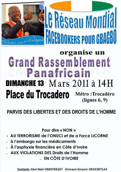 Manif Gbagbo 13 mars 2011 au Trocadéro à Paris
