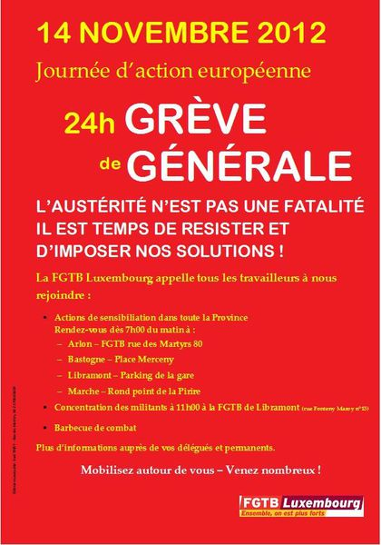 TRACT FGTB LUXEMBOURG-GREVE GENERALE DU 14 NOVEMBRE 2012