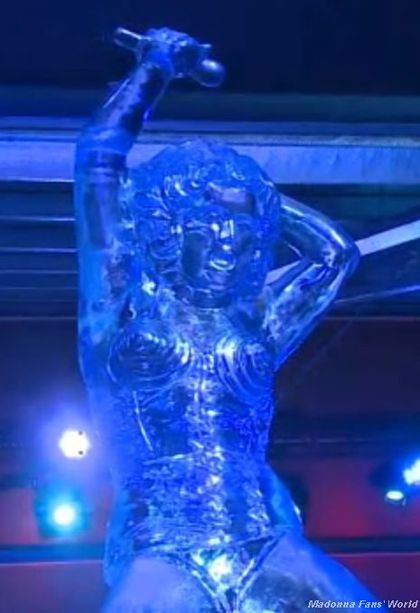 Madonna Ice Sculpture at Festival ''Snow and Ice'' in Bruges, Belgium