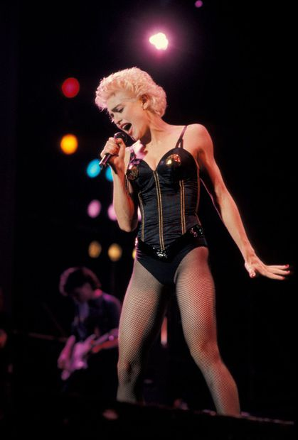 Madonna performs in 1987 at the Pontiac Silverdome
