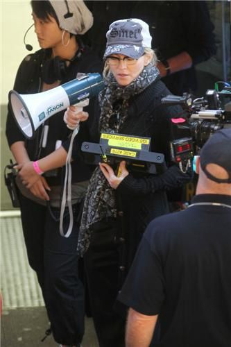 Madonna drinking a Red Bull and directing ''W.E.'' in Brooklyn, NY