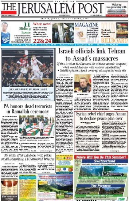Madonna - MDNA Tour: On the cover of ''Jerusalem Post'' - June 1, 2012