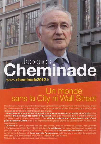 2012 Presidentielle Jacques Cheminade Affiche