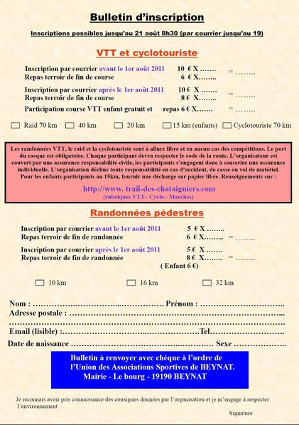 Bulletin d'inscription