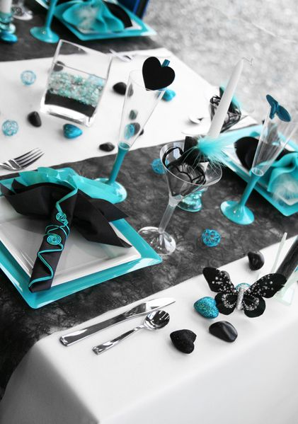 mariage d coration turquoise et gris mariage d co. Black Bedroom Furniture Sets. Home Design Ideas