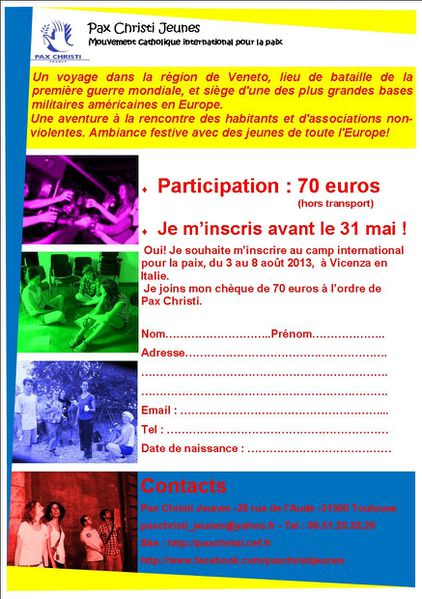 bulletin d'inscription italie