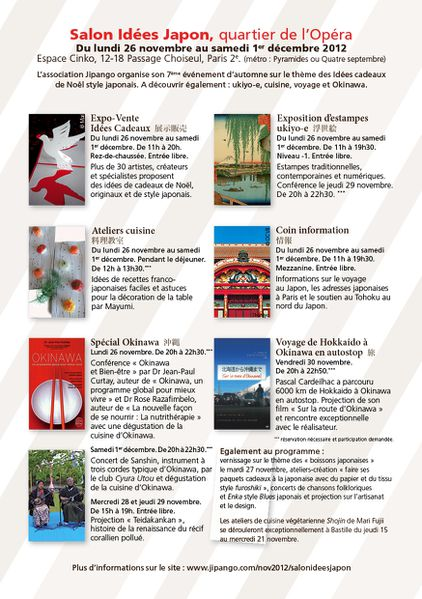 Salon Idees Japon PROGRAMME