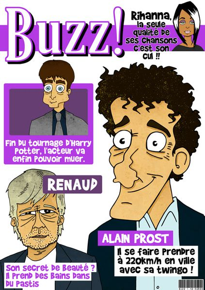 Buzz caricature Rihanna harry Potter renaud alain prost ech