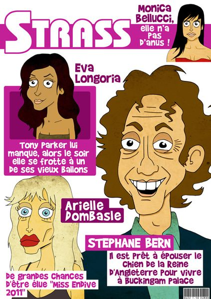 Strass caricature Stephane Bern monica bellucci arielle dom