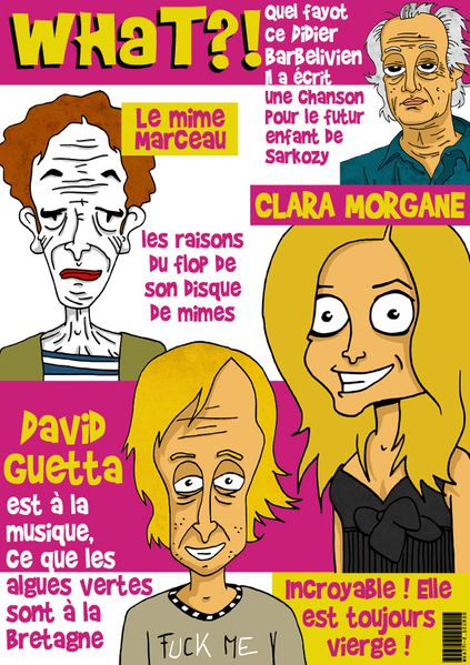 What caricatures didier barbelivien mime marceau clara morg