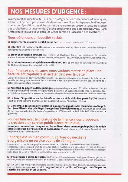 2012 Presidentielle Philippe Poutou profession foi2