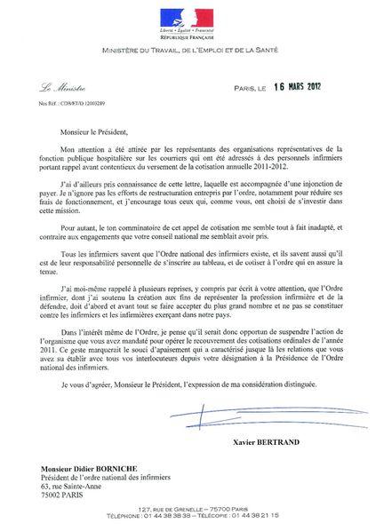 Courrier - M. BORNICHE- cotisation annuelle ONI D12003289