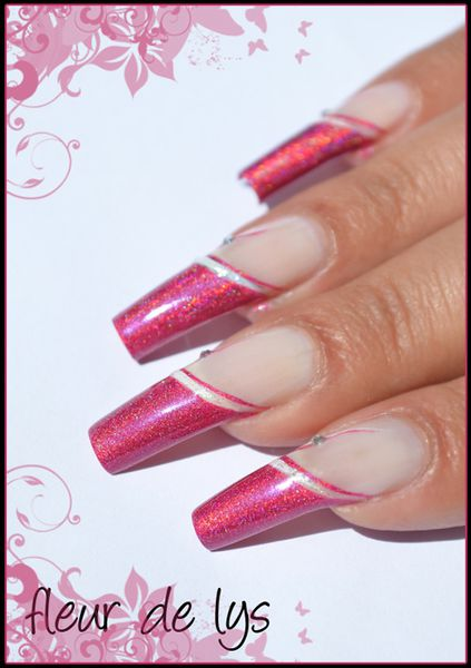 Nail Art French holographique