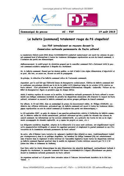 communique presse ac fdf bruno vanhemelryck 20130819