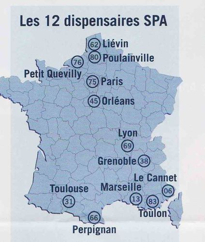 carte des dispensaire spa france defense animaux cr oles. Black Bedroom Furniture Sets. Home Design Ideas
