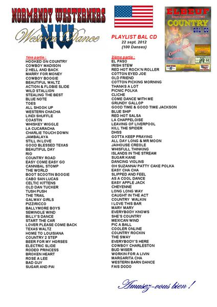 Playlist Bal CD 22 sept 2012