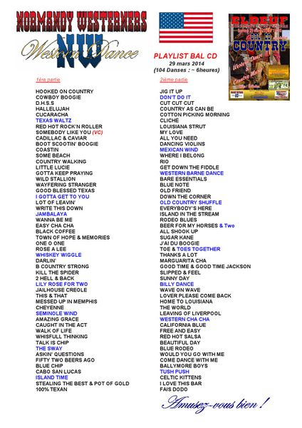 Playlist Bal CD du 29 mars 2014