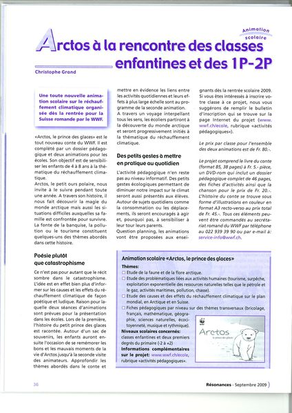 article journal Résonances septembre 09 Page 1