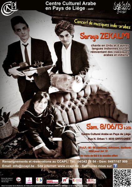 Concert Soraya Zekalmi « Chants indo-arabes » à Liège