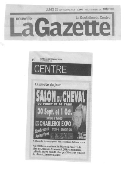 nouvelle gazette 2006 09 25 salon du cheval et ane staumont