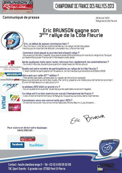 Communiqué presseCommuniqué presse Eric BRUNSON gagne son