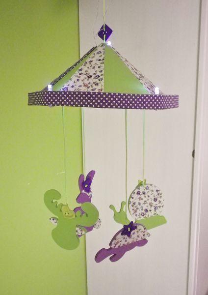 mobile veilleuse bb enfant violet et vert anis 6 - Vert Et Violet