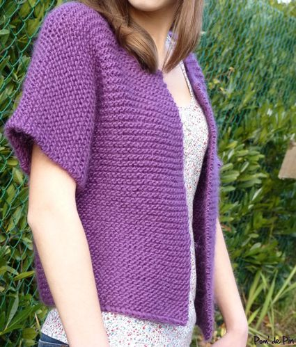 gilet tube point mousse violet 3