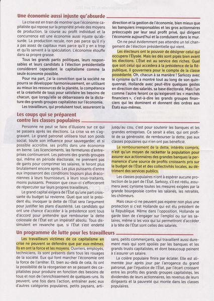 2012 Presidentielle Nathalie Arthaud profession de foi 1