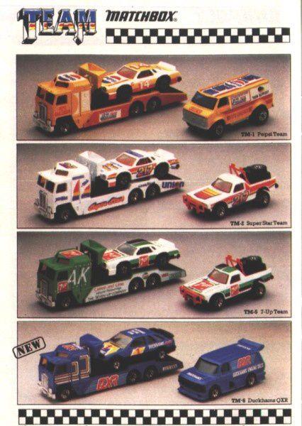 catalogue matchbox 1987 p19 team nascar