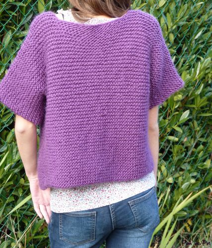 gilet tube point mousse violet 5