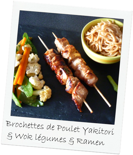 brochette poulet yakitori et wok légumes et ramen (10)