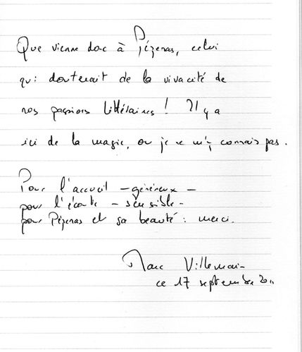 2011 09 16 Marc Villemain livre d'or