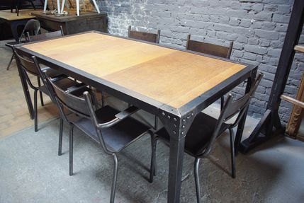 Table industrielle bois metal - Table style industrielle ...