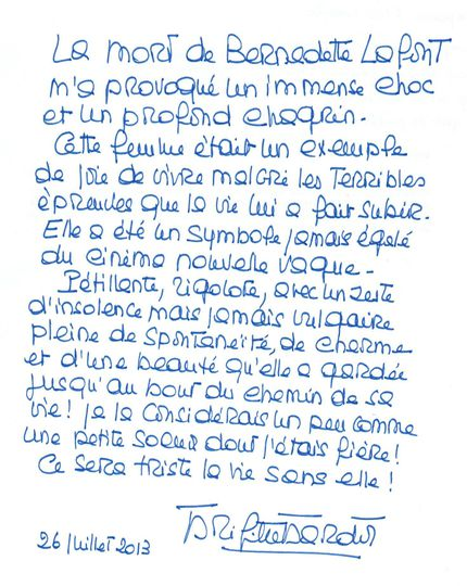 Hommage Brigitte Bardot à Bernadette Lafont (Blog Bagnaud)