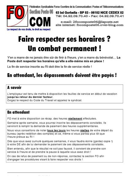 Respect horaires