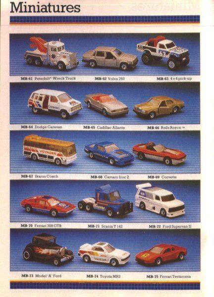 catalogue matchbox 1988 f10 mr2 cadillac allante