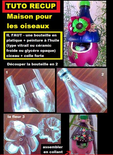 cabanne oiseau tuto diy bottle plastic tutoriel r cup de bouteille en plastique tutoriel. Black Bedroom Furniture Sets. Home Design Ideas