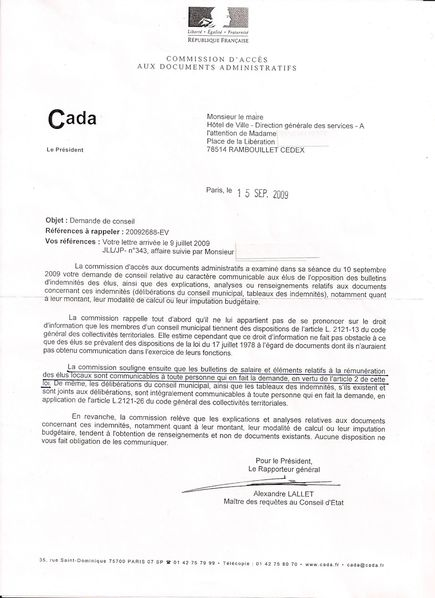 Autorisation CADA bulletins indemnités