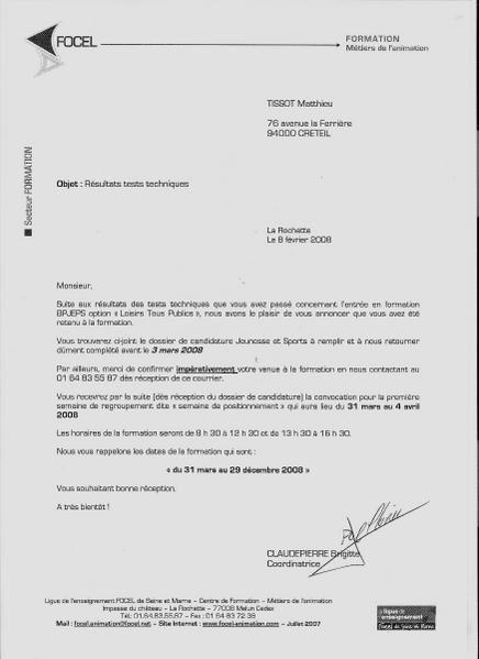 Application Letter Sample: Modele De Lettre De Motivation Pour Une Formation Bpjeps