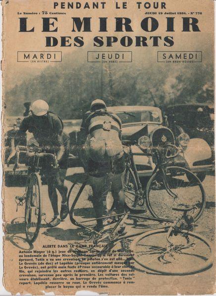 Tour de france 1934 pour les hommes les vrais velos for Le miroir des sports