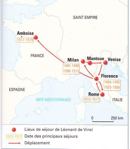 Carte voyages et séjours de Léonard de Vinci