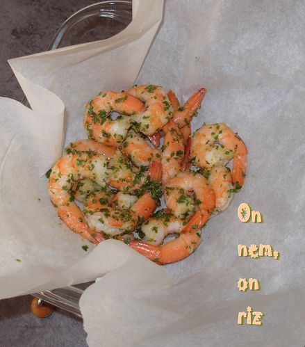 Papillottes de crevettes ail-gingembre1