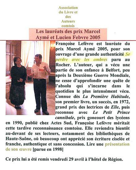 Fr. Lefèvre.Se perdre avec les Ombres Prix Marcel Aymé