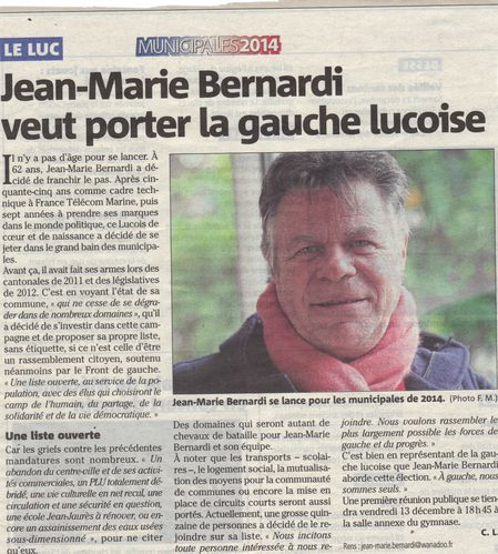Article presse Var Matin 30-11-2013